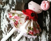 "Custom Order 17"" Madelyn Doll, SpunCandy, Rag Doll, Brunette Hair, Red and Pink Floral Dress, Cloth Doll, Baby Doll, Handmade Doll"