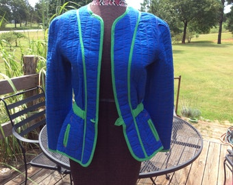 women large vintage quilted blazer--reversible--blue/green with red floral interior