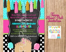 TWEEN MANI/PEDI invitation - You Print - Original Design by Pretty Party Creations Only