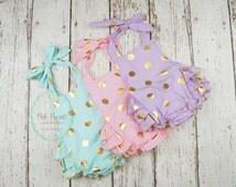 baby romper- romper- Polka dot romper- Baby Bubble Romper- Ruffle Romper - Romper  - Gold Polka dot- toddler romper- girl birthday outfit