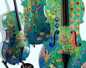 4/4 Cello Musical Instrument, Music Theme Decor, Painted Colorful Music
