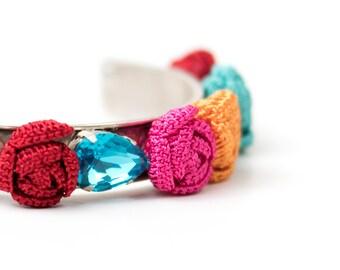 Bracelet-Bohemian Colorful Juicy Bangle with Crochet Flowers,Bangle Bracelet,Crochet Jewelry,Crochet Roses,Stacking Bracelet
