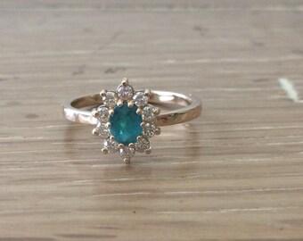 Tourmaline Ring - Diamond Cluster Ring - Gemstone Cluster Ring  - Yellow Gold Ring - Tourmaline and Diamond Ring - Halo Ring