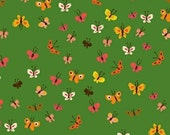Tiger Lily Butterflies in Green, Heather Ross, Windham Fabrics, 100% Cotton Fabric, 40933-2