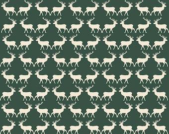 Postcards for Santa Deer in Green, My Mind's Eye, Marcia Cornell, Riley Blake Designs, 100% Cotton Fabric, C4753-GREEN