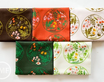 Tiger Lily Flower Wreaths Fat Quarter Bundle, 5 Pieces, Heather Ross, Windham Fabrics, 100% Cotton Fabric, 40928