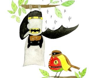 Kids Wall Art, Batman & Robin Print - Limited Edition 8x10 Print by Jennie Deane