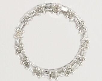 Diamond Eternity Pendant - 14k White Gold Love Baguette Cut Genuine .15ctw L1772