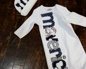 Coming home outift, navy and grey newborn gown, name layette gown, newborn grey and navy name outfit