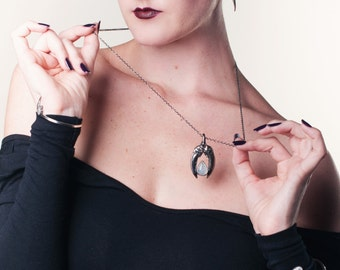 The Hunted II Badger claw and moonstone necklace in sterling silver