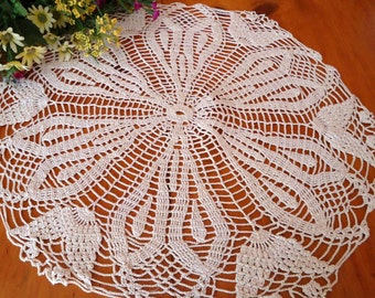 Crocheted Doily Vintage Doilys Large Ecru Centerpiece  A262