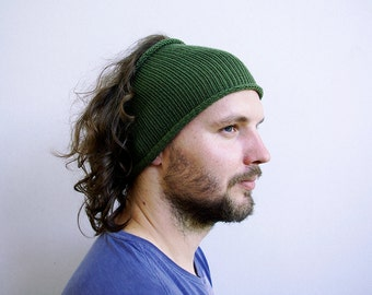 Knitted Mens Headband Guys knit hair wrap - olive green Unisex Adults Dread band