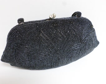 Julius Garfinckle & Co Evening Bag Black Beaded FREE SHIPPING!