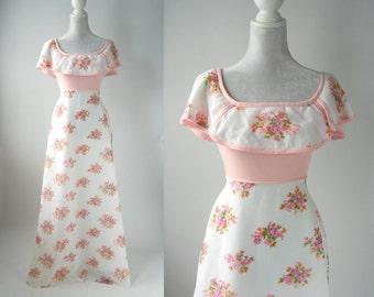 Vintage Maxi Dress, 1960s Floral Dress, Vintage Pink Gown, Vintage White Gown, Floral Pink Dress, Vintage Floral Pink Dress, 1970 Boho Dress