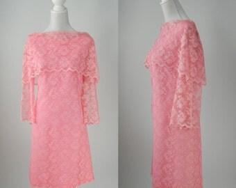 Vintage Pink Dress, Pink Lace Dress, 1960s Pink Dress, 60s Pink Lace Dress, Retro 60s Pink Lace Dress, Carol Craig, 60s Hostess Dress, Retro