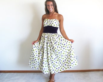 Vintage  Atomic Print Dress, Cotton Sundress, 50s Strapless Tea Length Summer Dress