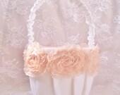 Round Flower Girl Basket Blush Ivory or White Vintage Custom Colors Wedding Basket Set