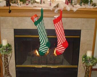Christmas Stockings, Set of 2 Candy Cane Style Christmas Stockings, Gift for Him, Gift for Her, Christmas Decoration