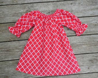 Fall 2015 Girl's Infants Toddlers Red Quatrefoil Peasant Dress