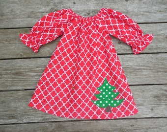 Girl's Toddler Peasant Dress - Red Quatrefoil with Christmas Tree Applique