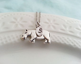 Hippo Necklace. Silver Hippopotamus Necklace. Hippo Charm. Hippopotamus Pendant. Initial Necklace. Personalized Jewelry. Hand Stamped