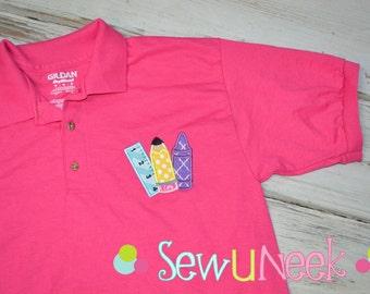 Teacher Polo Shirt Applique School Supplies