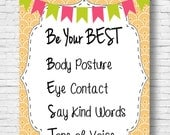 Be Your Best Classroom Counseling Office Poster Teacher Printable Instant Download Back to School Home School Common Language