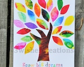 8 x 10 Whimsical Art Print Grow Big Dreams