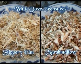 MARSHMALLOW Root - SLIPPERY ELM Bark ~ 1 oz Organic Dried Root & Cotton Cut