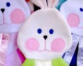 Bright green bunny security blanket. Fisher Price 1980s bunny blanket replica.