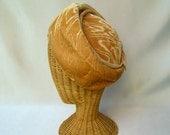 Vintage Ladies Hat Gold Velvet Moire Slouchy