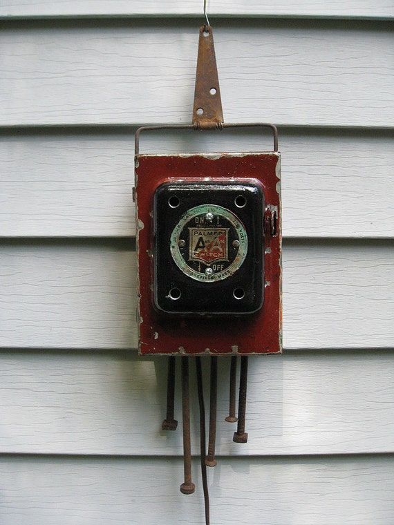 rustic industrial electrical fuse box night light. Black Bedroom Furniture Sets. Home Design Ideas