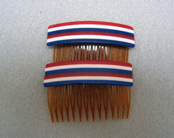 1960s Red White and Blue Lucite Hair Comb Pair