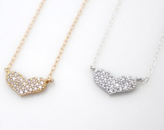 CZ heart necklace, cubic zirconia heart, tiny heart necklace, bridesmaid gift