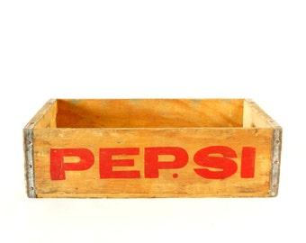 Vintage Pepsi-Cola Wooden Beverage Crate #1-81, Pepsi Crate in Red (c.1981) - Industrial Storage Box, Beverage Collectible