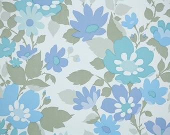Retro Wallpaper by the Yard 70s Vintage Wallpaper - 1970s Aqua Blue Floral on White