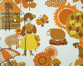 Retro Wallpaper by the Yard 70s Vintage Wallpaper - 1970s Orange and Yellow Country Farm Scenic on White with Flowers and Animals
