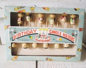 12 vintage birthday candle holders wood Japanese child figures