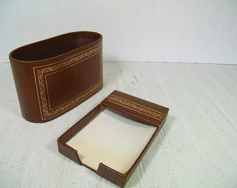 Retro Brown Wood Look with Gold Tooling Desk Set of 2 Pieces - Vintage Library Office Accessories Pair - Letter Bin & Memo Paper Holder Set