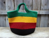 Large Crochet Boho Tote - Rasta