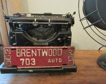 Rusty crusty 1962 BRENTWOOD Missouri License Plate 703 AUTO Mo