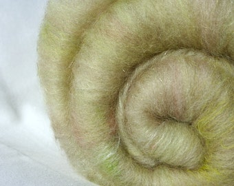 Batt Merino Tussah Silk Firestar Silk Rods Angelina Faux Angora 1.6 oz 45 g OOAK Ready to Ship International - Pressed Roses