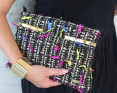 Handmade clutch bag, handwoven tweed, clutch bag with gold details, in gold and black.