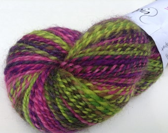 "Handspun BFL, sport, ""Crazy Watermellon"" 4.1 oz, 297 yds"