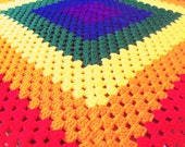 RESERVED FOR: carrieholmes1348   Rainbow Granny Square Afghan -Bright Colored Throw/ Baby Blanket