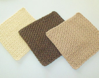Dishcloths Set - Spa Cloths - Washcloths - Cafe' au Lait - Set of 3 in Warm Brown, Light Brown, and Cream - Care Package Idea - Small Gift