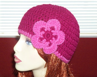 Beanie with Flower Accent - Magenta and Pink - Teen/Adult Small/Medium Hat