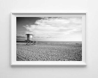 Newport Beach Lifeguard Tower - Black and White California Beach Home Decor, Ocean Decor, Beach House Decor - Large Art Prints Available