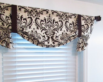 Tie Up Lined Valance Natural Brown Damask/ Custom Sizing Available!