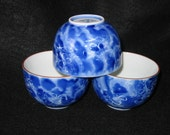 Set of 3 Arita Brand Japanese Blue Floral Design Porcelain Teacups